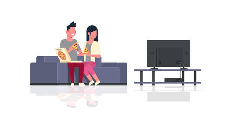 happy couple eating pizza man woman watching tv sitting on couch holiday relax concept male female cartoon characters full length flat horizontal isolated vector illustration