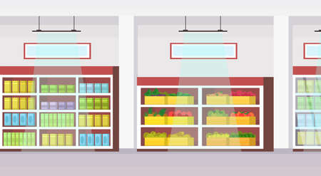 big grocery shop supermarket interior empty no people super market shopping concept flat horizontal vector illustration