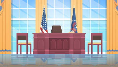 united states of america happy presidents day concept president workplace wooden furniture USA national flag oval office white house interior flat horizontal vector illustration 矢量图像