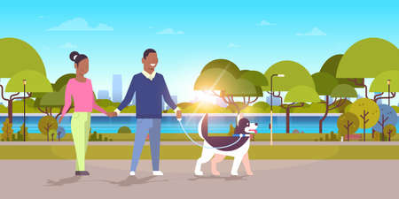 couple walk with husky dog african american man woman walking city urban park sunset landscape background people having rest outdoor flat horizontal full length vector illustration