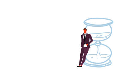 businessman leaning on sand clock deadline time management concept business man office manager standing at sandglass sketch doodle horizontal vector illustration