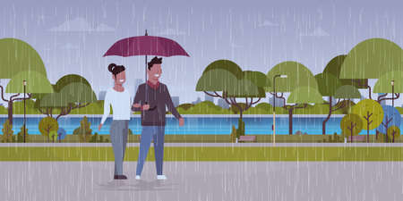 lovers couple under umbrella man woman romantic walking in rain city urban park landscape background full length characters flat horizontal vector illustration