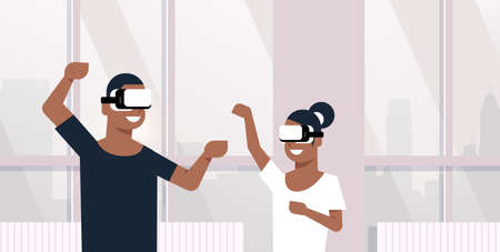 man woman wearing vr glasses african american couple playing virtual reality games dancing together lovers having fun modern apartment interior horizontal portrait vector illustration Standard-Bild - 124747798