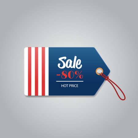 price label tag happy presidents day holiday big sale concept american flag colors badge with text 80 percent off special offer discount flat gray background vector illustration