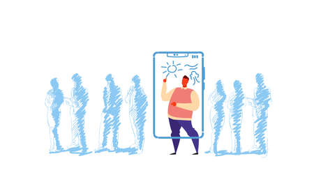 man drawing sun on smartphone screen standing out from crowd people silhouettes individuality concept artist using mobile app full length character sketch doodle horizontal vector illustration
