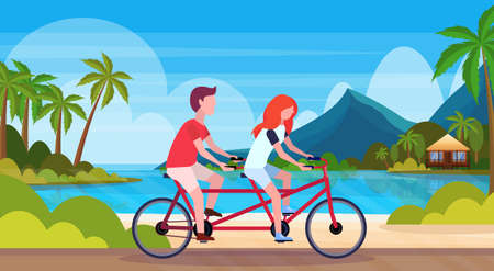 couple in love riding tandem bicycle summer vacation sea beach landscape beautiful seaside man woman lovers cycling twin bike horizontal flat vector illustration