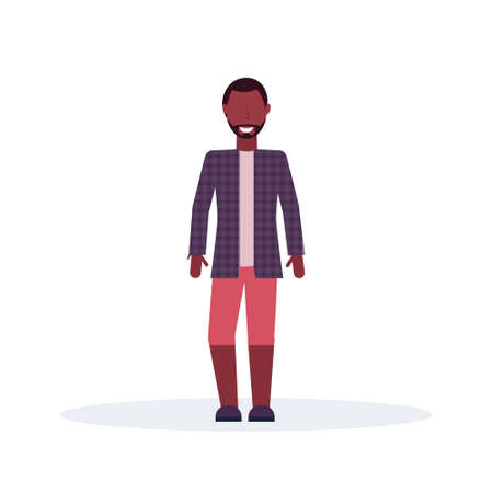 casual african american man standing pose wearing fashion clothes male cartoon character full length flat isolated vector illustration