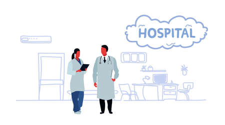 couple medical doctors team medical staff healthcare and medicine concept male female characters in white uniform hospital interior full length sketch doodle horizontal vector illustration