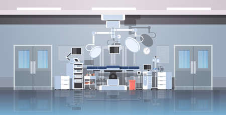 hospital operating table clean medical surgery room intensive therapy modern equipment clinic interior horizontal banner vector illustration