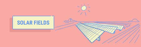 solar energy panel fields renewable station alternative electricity source concept photovoltaic district sketch flow style horizontal banner vector illustration Archivio Fotografico - 124636102