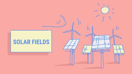 wind turbine solar energy panel fields renewable station alternative electricity source concept photovoltaic district sketch horizontal vector illustration Archivio Fotografico - 124636105