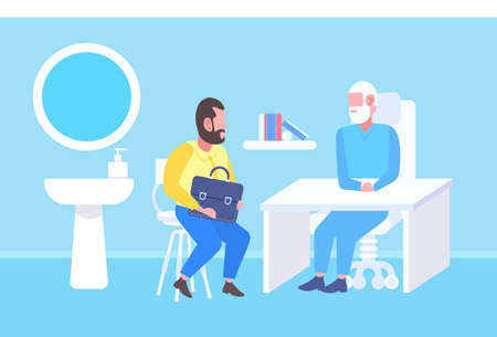 man patient having consultation with senior doctor sitting at table workplace modern clinic office interior medicine and healthcare concept full length flat vector illustration