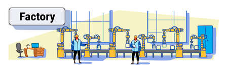 engineers in uniform controlling factory production conveyor automatic assembly line machinery automation industry concept colorful sketch doodle horizontal banner vector illustration
