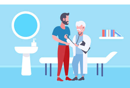 senior doctor examining male patient by stethoscope checking heart beat or breath medicine healthcare concept modern hospital room interior full length horizontal vector illustration