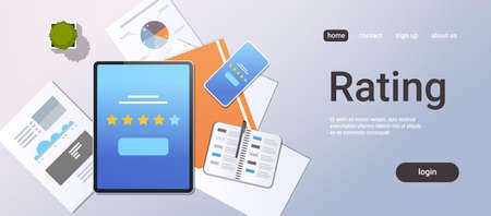 review five star rate feedback rating concept top angle view desktop tablet smartphone screen analysis infographic report office stuff horizontal copy space vector illustration