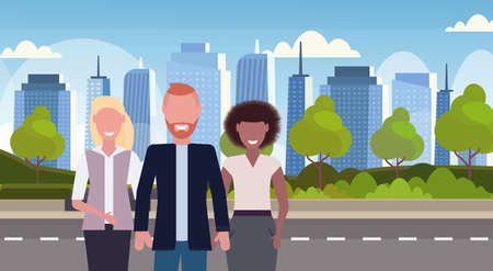 mix race businesspeople colleagues standing together urban city high skyscrapers cityscape background skyline flat horizontal male female cartoon characters portrait vector illustration