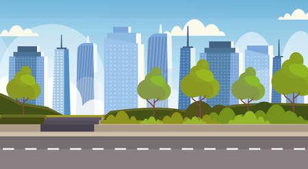 asfalto autostrada strada sopra città panorama alti grattacieli paesaggio urbano sfondo skyline piatto banner orizzontale illustrazione vettoriale vector