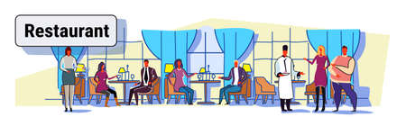 people visitors sitting at restaurant tables waiters showing hospitality and serving guests modern cafe interior design colorful sketch flow style horizontal banner vector illustration