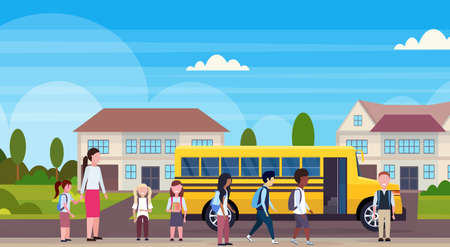 teacher with mix race pupils walking in yellow school bus pupils transport concept residential suburban street landscape background flat horizontal full length vector illustration