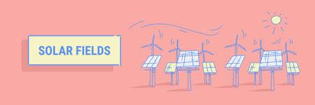 wind turbine solar energy panel fields renewable station alternative electricity source concept photovoltaic district sketch horizontal banner vector illustration Archivio Fotografico - 124636191