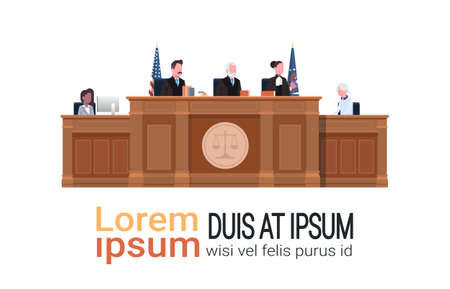 law process with judge secretary suspect sitting at workplace wooden tribune court session white background copy space horizontal vector illustration Standard-Bild - 124599205
