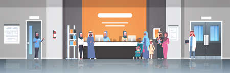 arabic patients in hijab standing line queue at hospital reception desk medical doctors consultation healthcare concept waiting hall clinic interior full length horizontal banner flat vector illustrat  イラスト・ベクター素材