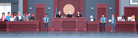law process with judge jury suspect and police officers lawyer or attorney giving a speech court session modern courthouse courtroom interior full length horizontal banner vector illustration Vektoros illusztráció
