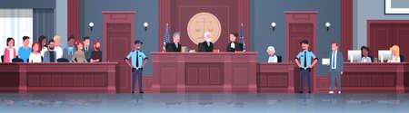 processo legale con giudice giuria sospettata e agenti di polizia avvocato o avvocato che dà una sessione di tribunale discorso moderno tribunale aula interna a tutta lunghezza banner orizzontale illustrazione vettoriale Vettoriali