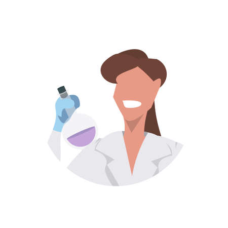 female scientist holding test tube face avatar woman laboratory technician in white uniform medical worker professional occupation concept white background flat portrait vector illustration
