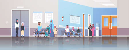 arabic patients wearing traditional clothes waiting in line queue to doctor cabinet consultation and diagnosis healthcare concept medical clinic corridor interior horizontal flat vector illustration