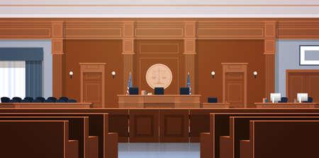 Sala de audiencias vacía con juez y secretaria en el lugar de trabajo asientos de la caja del jurado moderno palacio de justicia interior concepto de justicia y jurisprudencia ilustración vectorial horizontal