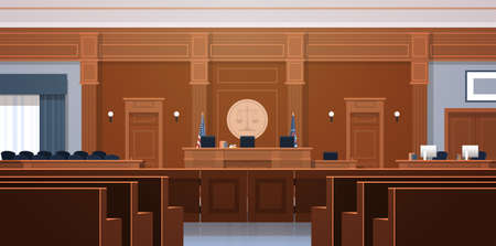 empty courtroom with judge and secretary workplace jury box seats modern courthouse interior justice and jurisprudence concept horizontal vector illustration Illustration