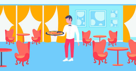 waiter holding plate with hot pizza restaurant hospitality staff modern cafe interior horizontal flat full length vector illustration