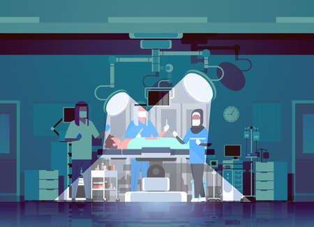 arabic surgeons team surrounding patient lying on operation table with lamps light rays during surgery arab medical workers with equipment in operation room hospital interior horizontal vector illustration
