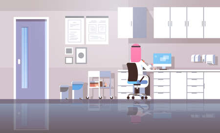 arab man dentist in hijab sitting workplace using computer rear view arabic doctor in uniform working process modern clinic office interior flat horizontal vector illustration