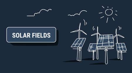 wind turbine solar energy panel fields renewable station alternative electricity source concept photovoltaic district sketch dark background horizontal vector illustration Vettoriali