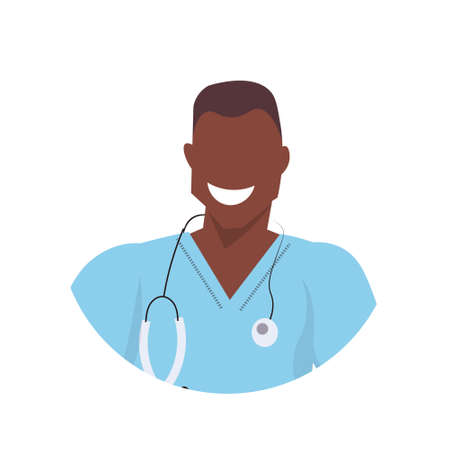 african male doctor with stethoscope face avatar man medical clinic worker in uniform professional occupation concept cartoon character portrait white background flat vector illustration
