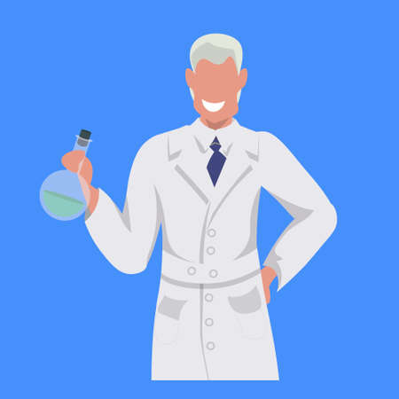 male scientist holding test tube man laboratory technician in white uniform medical worker professional occupation concept blue background flat portrait vector illustration
