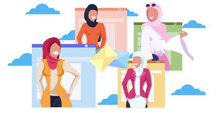 arab women in hijab online communication letter envelope chatting concept arabic girls in traditional clothes using internet application web browser page portrait horizontal vector illustration