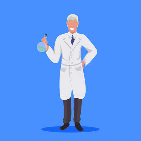 male scientist holding test tube man laboratory technician in white uniform medical worker professional occupation concept blue background flat full length vector illustration Illustration