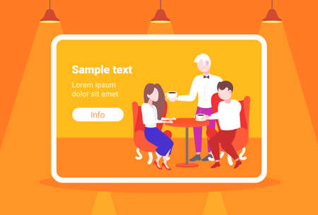 waiter serving coffee to visitors couple sitting at restaurant table modern cafe staff hospitality concept horizontal flat full length copy space vector illustration 스톡 콘텐츠 - 124599260