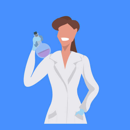 female scientist holding test tube woman laboratory technician in white uniform medical worker professional occupation concept blue background flat portrait vector illustration