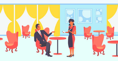 young waitress taking order from businessman visitor in luxury restaurant staff hospitality concept man having business lunch modern cafe interior horizontal flat full length vector illustration 스톡 콘텐츠 - 124599267