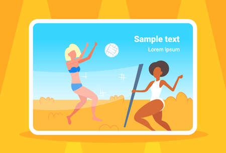 mix race women couple playing volleyball girls with volley ball having fun on sea beach active lifestyle summer vacation concept full length seaside horizontal copy space vector illustration