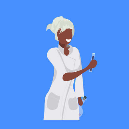 female scientist holding test tubes woman laboratory technician in white uniform african american medical worker professional occupation concept blue background flat portrait vector illustration