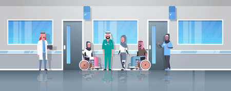 arabic doctors taking care of disabled injured people arab patients sitting in wheelchair woman with prosthetic leg disability concept hospital corridor clinic interior full length vector illustration