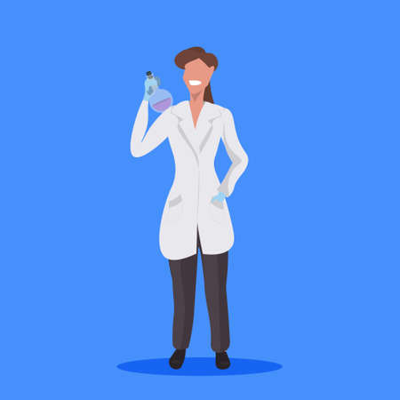 female scientist holding test tube woman laboratory technician in white uniform medical worker professional occupation concept blue background flat full length vector illustration Illustration