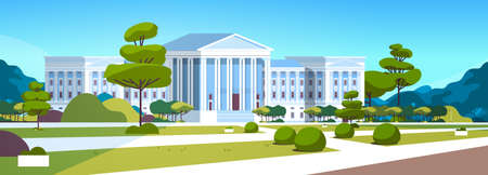 supreme court building with columns government house of justice exterior architecture design courthouse front yard with green grass and trees landscape horizontal banner flat vector illustration Illustration