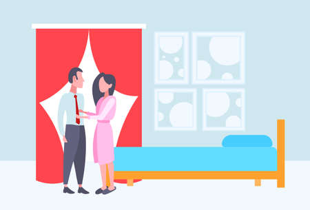 woman in bathrobe seeing off businessman in the morning before work happy couple lovers standing together modern bedroom interior full length flat horizontal vector illustration Illustration