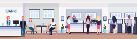 banking visitors and workers financial consulting center with waiting room reception and atm modern bank office interior horizontal banner flat vector illustration